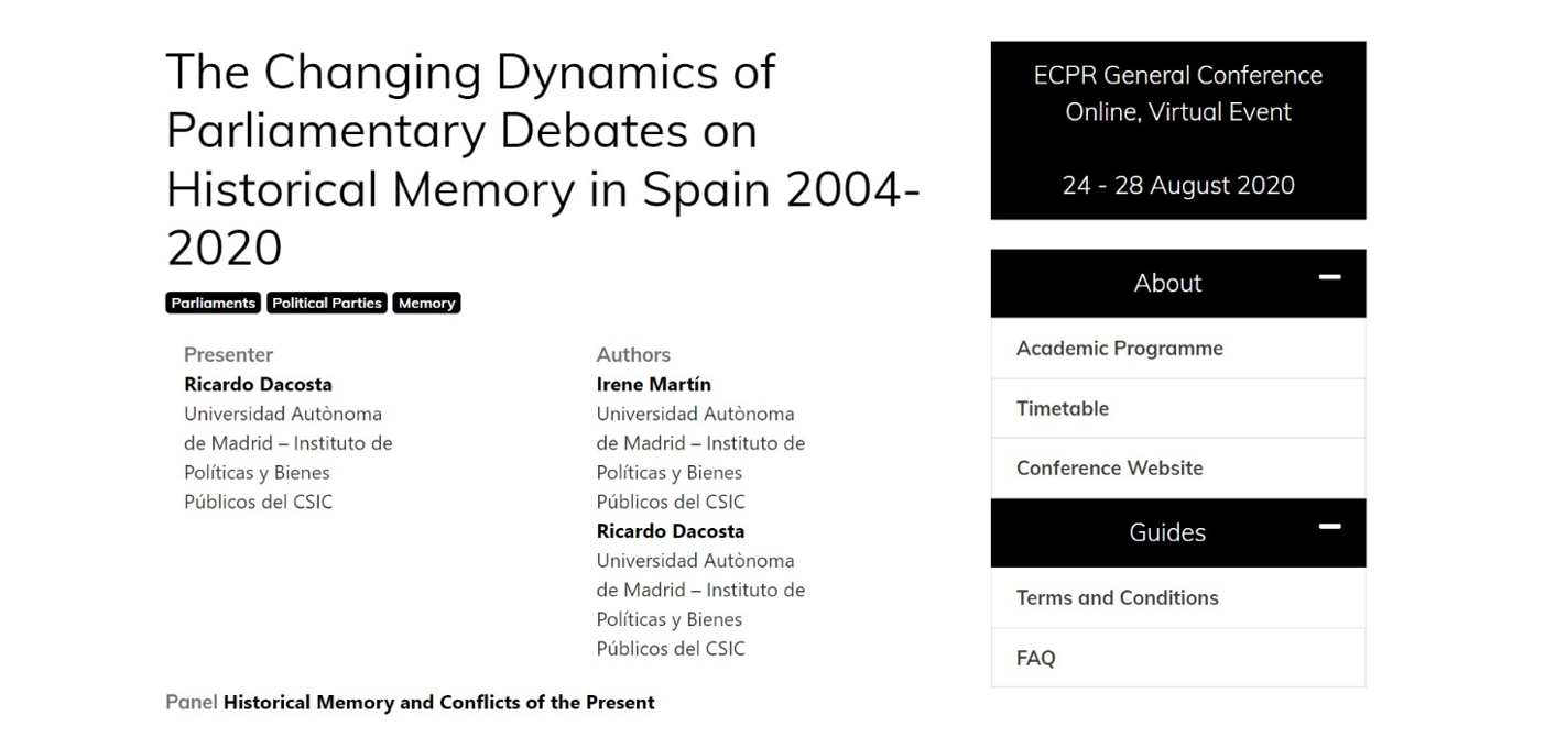 The Changing Dynamics of Parliamentary Debates on Historical Memory in Spain 2004-2020