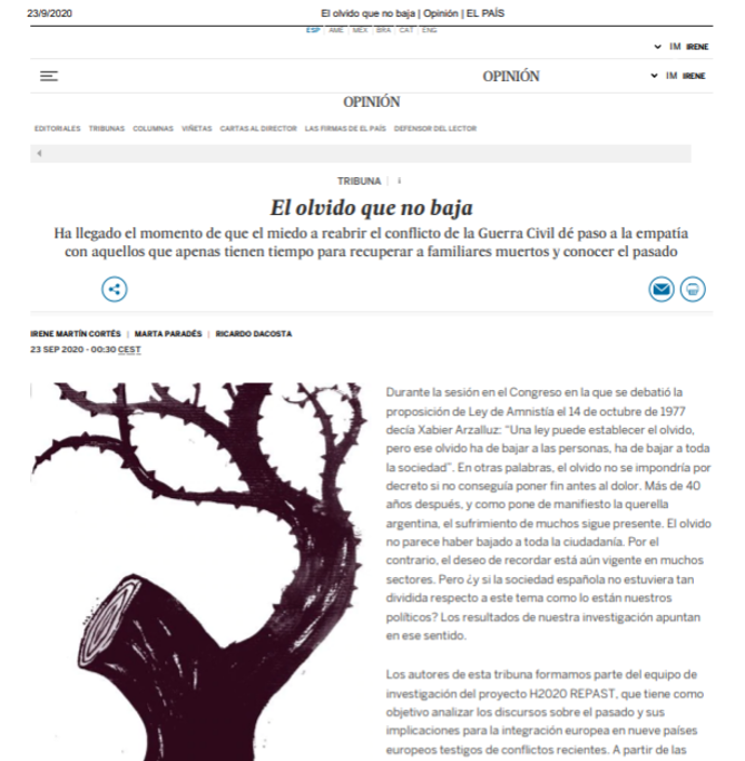 RePAST Project Opinion Article Published In El País