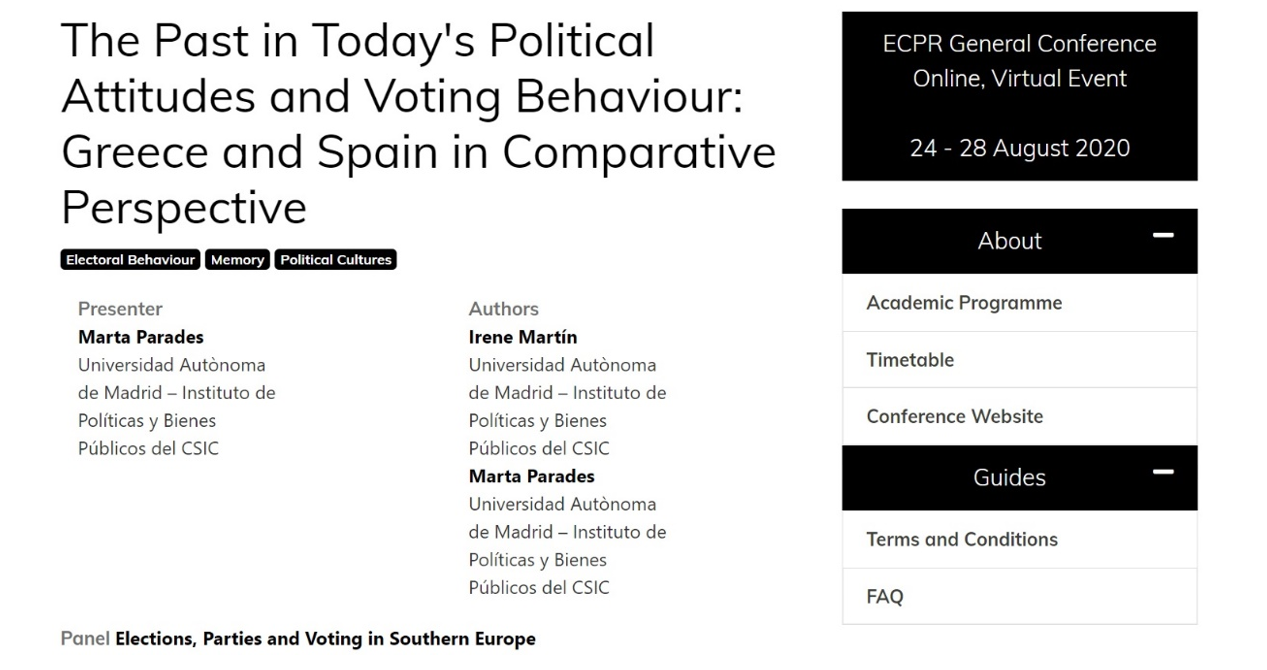 The Past in Today's Political Attitudes and Voting Behaviour: Greece & Spain in Comparative Perspective