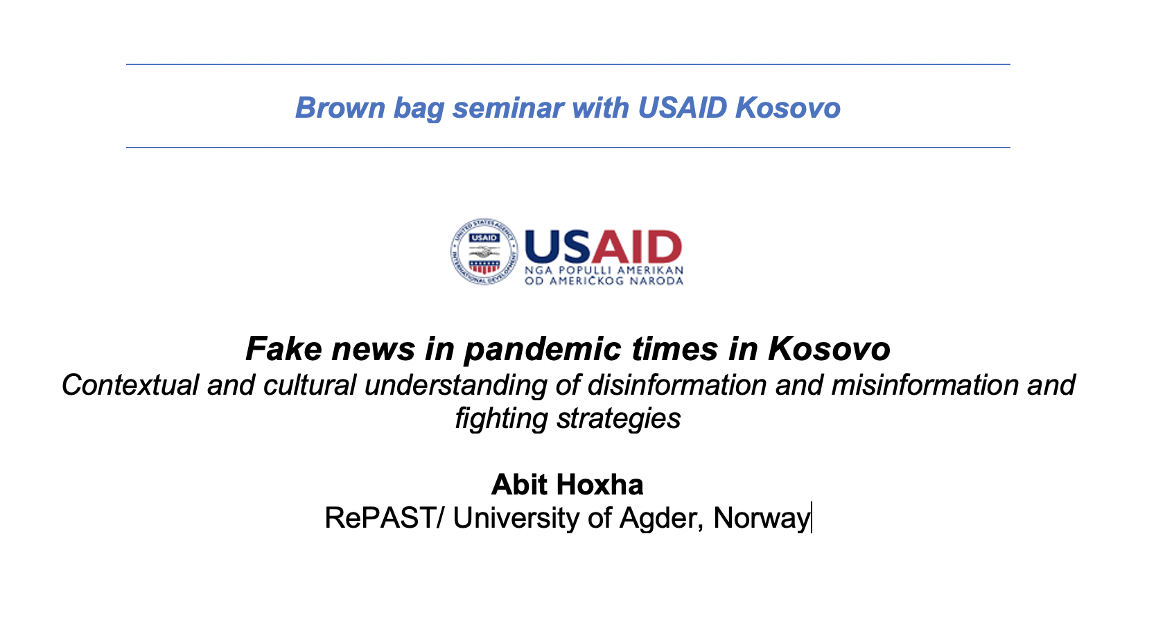 Brown Bag Seminar with Kosovo USAID
